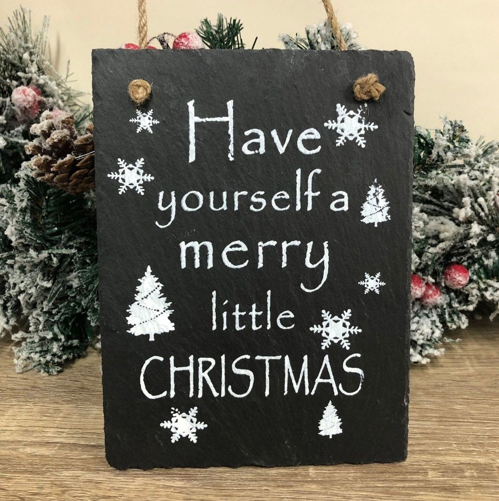 Have Yourself A Merry Little Christmas ~ Slate & Rope Hanging Wall Plaque